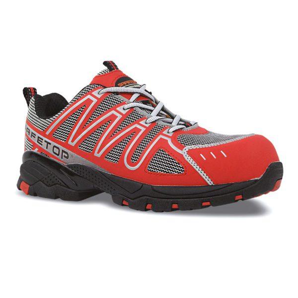 perlio zapato s1p rojo de microfibra metal free 3647